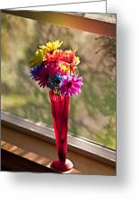 Multicolored Daisies On Window Sill Greeting Card