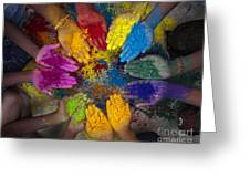 Multicoloured Hands Greeting Card