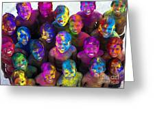 Multicoloured Happy Faces Greeting Card by Tim Gainey