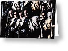 Multiple Johnny Cash In Trench Coat 1 Greeting Card