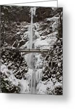 Multnoma Falls In Winter Greeting Card