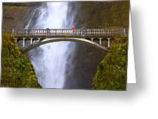 Multnomah Falls Bridge In Oregon Greeting Card