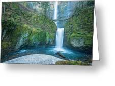 Multnomah Falls In Winter Greeting Card