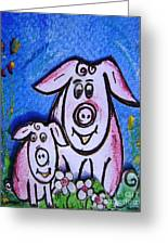 Mummy And Baby Pig  Greeting Card