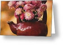 Mums In A Teapot Still Life Greeting Card