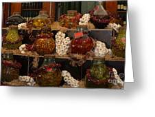 Munich Market With Pickles And Olives Greeting Card
