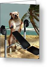 Muscle Boy Boxer Lifting Weights Greeting Card