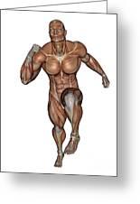 Muscular Man Running Greeting Card
