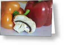 Mushroom And Peppers Greeting Card