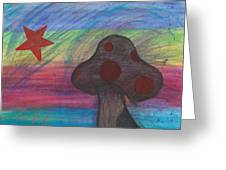 Mushroom And Star Greeting Card