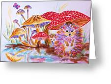 Mushrooms And Hedgehogs Greeting Card