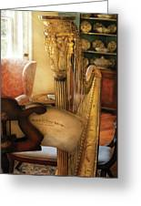 Music - Harp - The Harp Greeting Card by Mike Savad