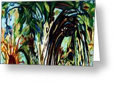 Music In Bird Of Tree Drip Painting Greeting Card