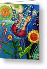 Music On Flowers Greeting Card
