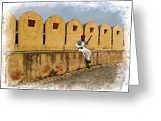 Musician - Amber Palace - India Rajasthan Jaipur Greeting Card