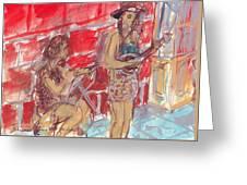 Musicians Busking  Greeting Card