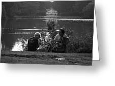 Musicians By The Pond Greeting Card