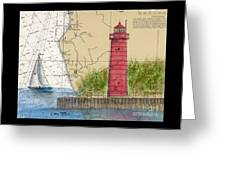 Muskegon Lighthouse Mi Nautical Chart Map Art Cathy Peek Greeting Card