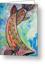 Muskie Greeting Card by Krista Ouellette