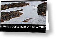 Mussel Collectors At Low Tide - Shellfish - Low Tide Greeting Card