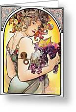 My Acrylic Painting As An Interpretation Of The Famous Artwork By Alphonse Mucha - Fruit Greeting Card