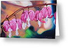 My Bleeding Hearts Out On A Limb Greeting Card