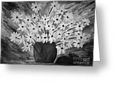 My Daisies Black And White Version Greeting Card