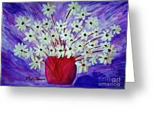 My Daisies Blue Version Greeting Card