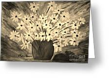 My Daisies Sepia Version Greeting Card