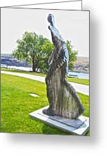 My Favorite View Of Metal Sculpture In Front Of Maryhill Museum Of Art-wa Greeting Card