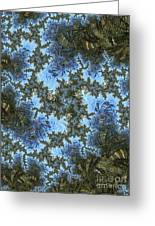 My Maui Fractal Art Abstract Palms And Blue Sky And Waters Greeting Card
