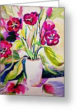 My Morning Tulips Opened Sold Original Greeting Card
