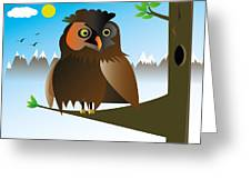 My Owl Greeting Card by Kenneth Feliciano