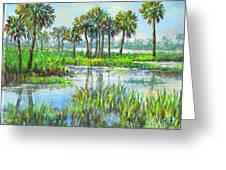 Myakka Lake With Palms Greeting Card