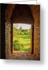 Myanmar Bagan View Of Some Pagodas Greeting Card