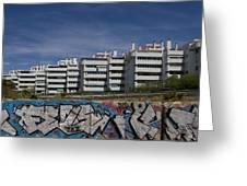 Myramar Apartments With Graffiti Greeting Card