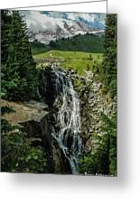 Myrtle Falls In Front Of Mt. Rainier Greeting Card