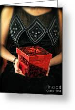 Mysterious Woman With Red Box Greeting Card