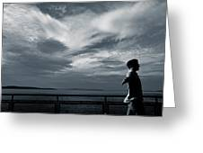 Mystery Man Walks The Deck Greeting Card