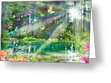 Mystic Foggy Forest Greeting Card by Alixandra Mullins