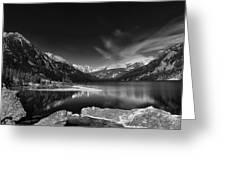 Mystic Lake Pano 2 Bw Greeting Card