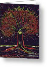 Mystic Spiral Tree Red By Jrr Greeting Card