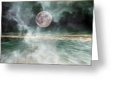 Mystical Beach Moon Greeting Card by Betsy C Knapp