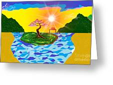 Mystical Island Greeting Card by Lewanda Laboy