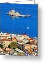 Nafplio And Bourtzi Fortress Greeting Card