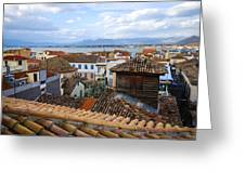 Nafplio Rooftops Greeting Card by David Waldo