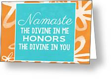 Namaste Watercolor Flowers Greeting Card