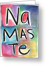 Namaste Watercolor Greeting Card by Linda Woods