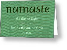 Namaste With Blue Waves Greeting Card