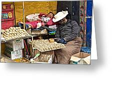 Nap Time For Child And Street Shopkeeper In Lhasa-tibet   Greeting Card